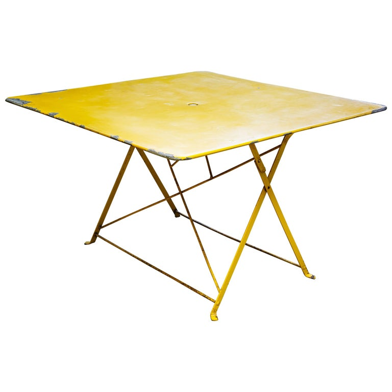 Unusual, Large Square Yellow Painted Iron Folding Table