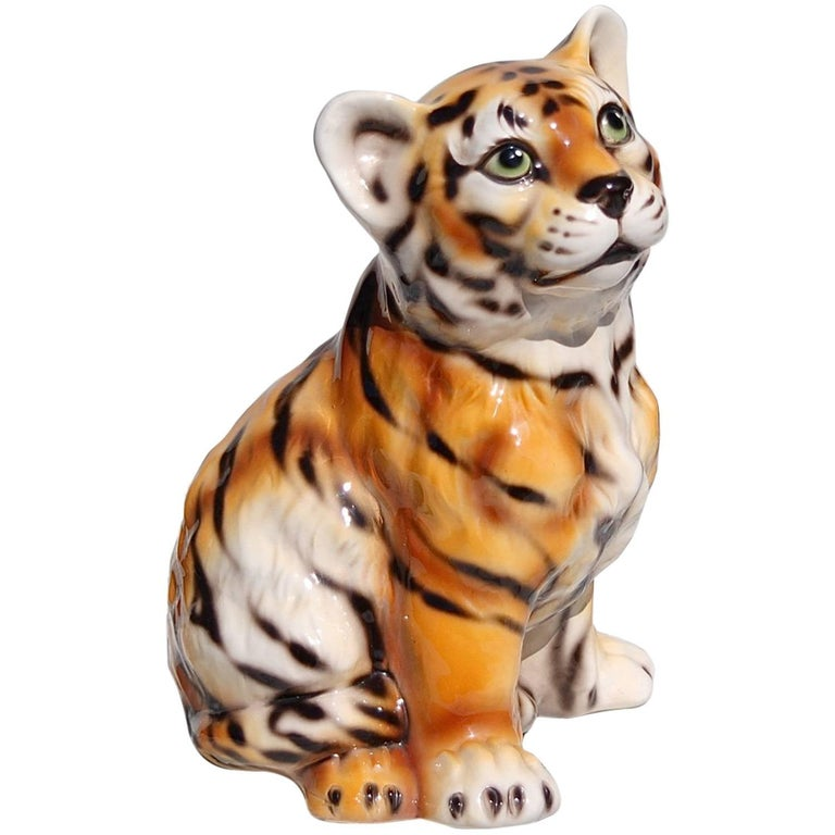 Hand-Painted Ceramic Tiger Cub, 1970s, Italy