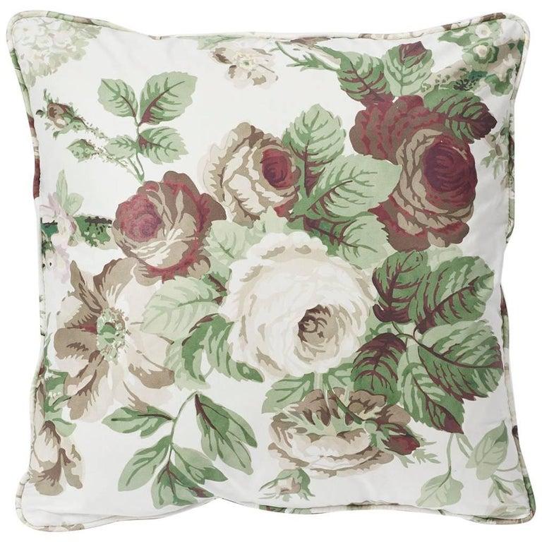 """Schumacher Vogue Living Nancy Grisaille Floral Glazed Cotton 18"""" Pillow For Sale"""