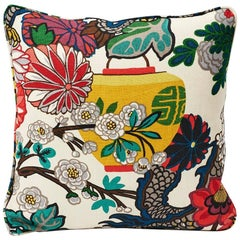 "Schumacher Chiang Mai Dragon Chinoiserie Alabaster Linen Two-Sided 18"" Pillow"