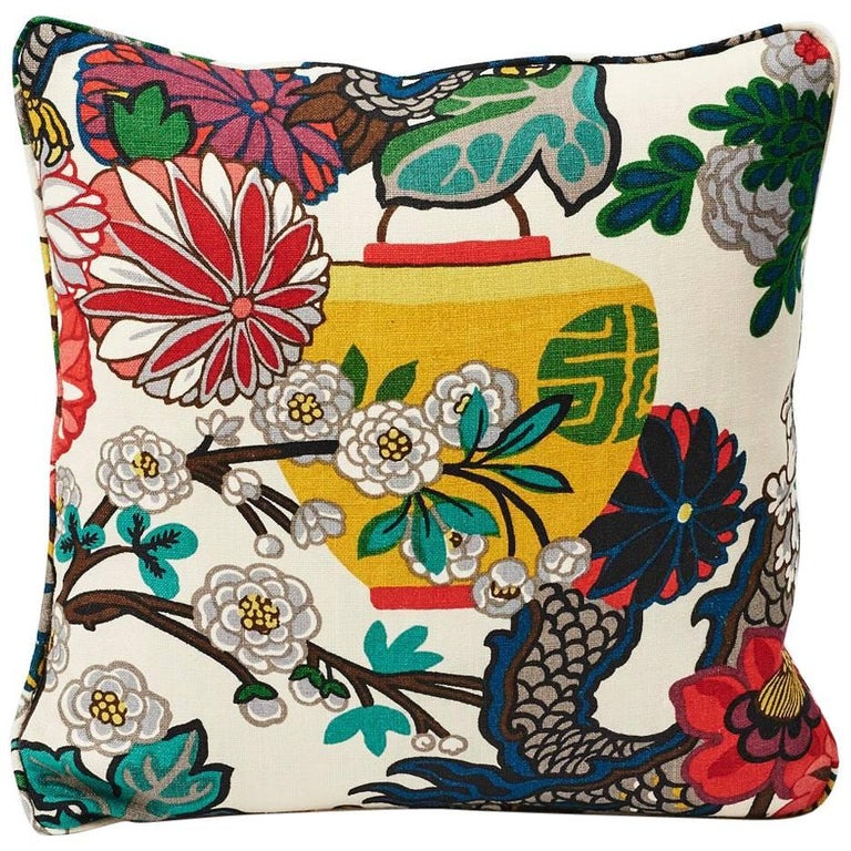 """Schumacher Chiang Mai Dragon Chinoiserie Alabaster Linen Two-Sided 18"""" Pillow For Sale"""