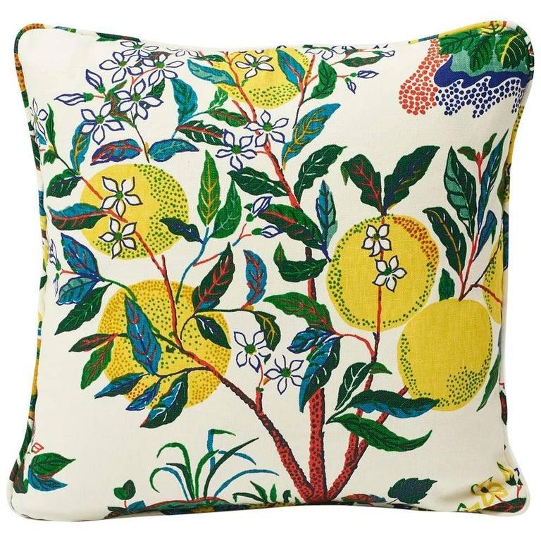 "Schumacher Josef Frank Citrus Garden Primary Color Linen Two-Sided 18"" Pillow"