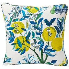 "Schumacher Josef Frank Citrus Garden Pool Blue Linen Two-Sided 18"" Pillow"