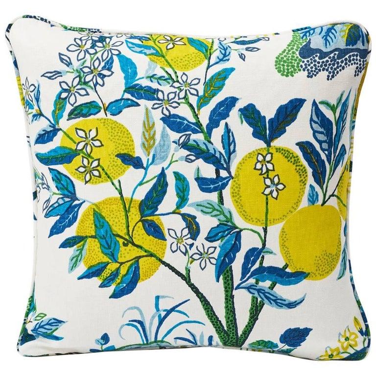 """Schumacher Josef Frank Citrus Garden Pool Blue Linen Two-Sided 18"""" Pillow"""