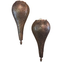 Pair of Tear Drop Shaped Brass Sconces