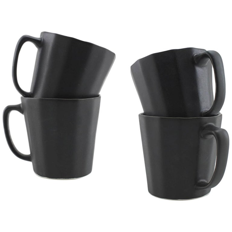 Monday Mug Matte Black Set of Four Coffee Mug Contemporary Glazed Porcelain For Sale