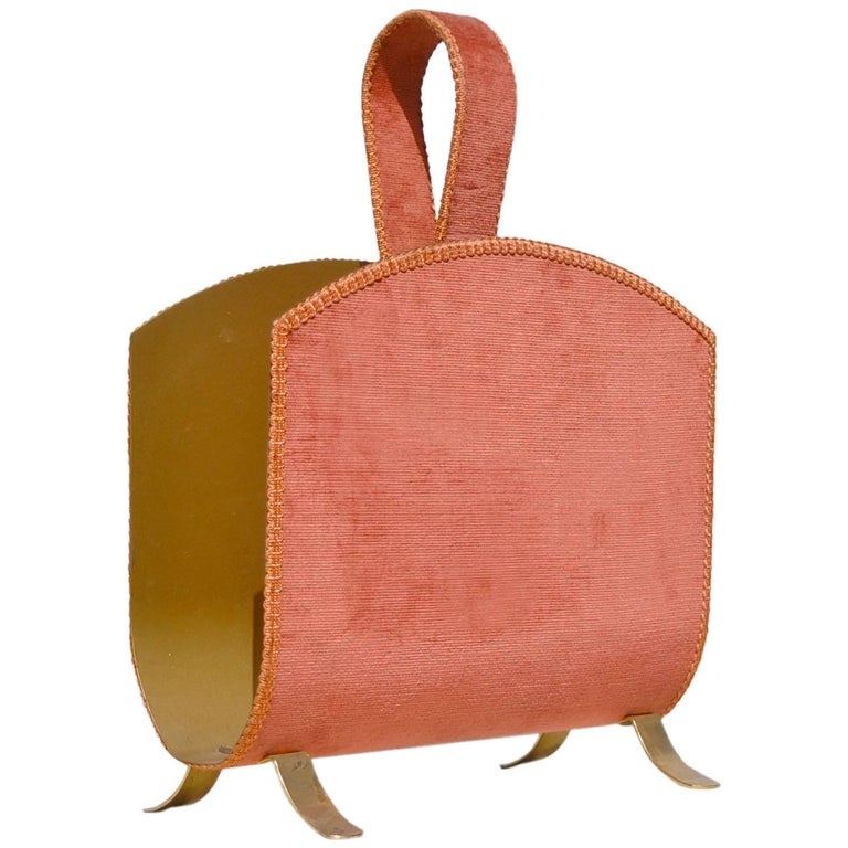 Hollywood Regency Gold and Pink Magazine Rack, circa 1950s For Sale