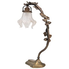 French Art Nouveau Bronze Table Lamp, Early 20th Century
