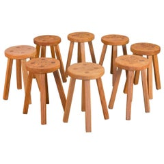 Vintage American Craft Oak Stool