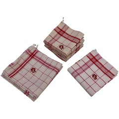 """French Antique Cotton and Linen Kitchen Towels, Embroidered """"MR"""" 'Set of 11'"""