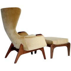 Adrian Pearsall Wing Chair for Craft Associates Model 2231-C and Ottoman