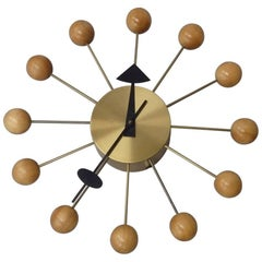 Early George Nelson Associates Howard Miller Blonde Ball Clock