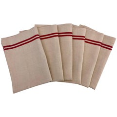 French Antique Linen Kitchen Towels 'Set of Six', with Red Stripes