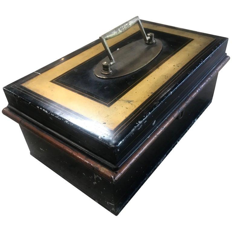 19th Century Italian Antique Safe Iron Box For Sale