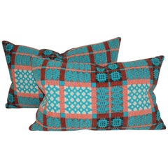 Turquoise Coverlet Pillows, Pair