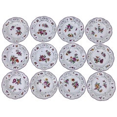 24 Meissen Plates with Reticulated Borders and Floral Decoration, Early 1900s