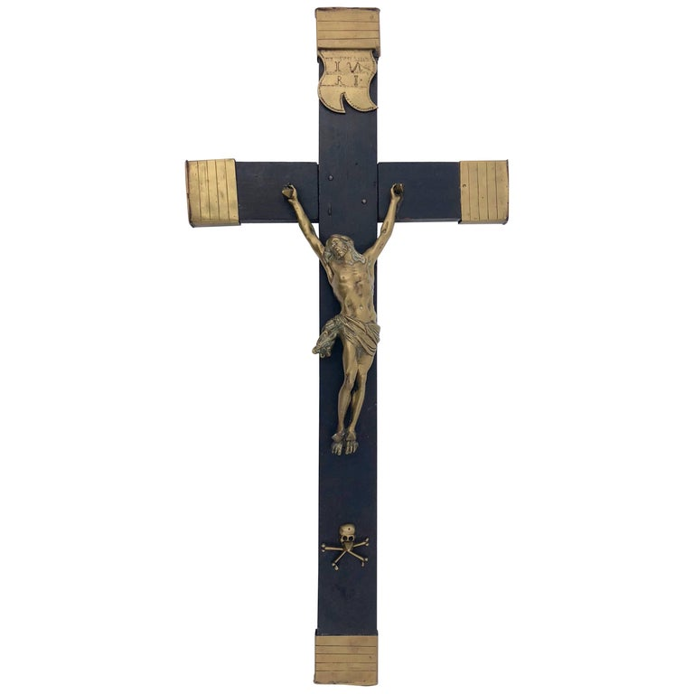 Large French Ebonized Wood and Brass Crucifix with Inri Banner, 1700s