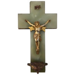 Large 1800s French Benitier Crucifix on Green Marble with Holy Water Font