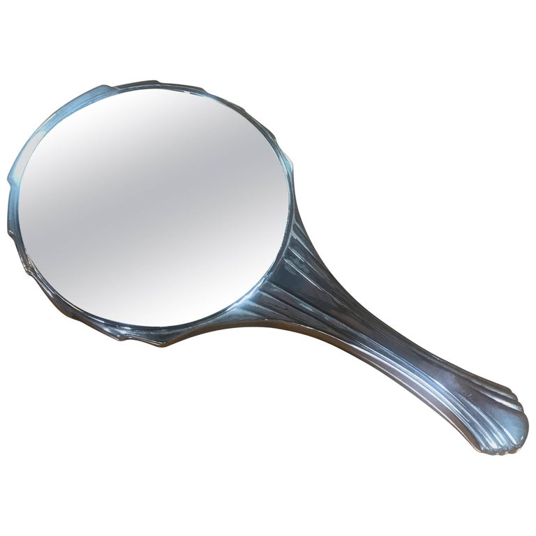Deco Italian Hand Mirror, 1940s For Sale