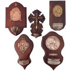 Five French Holy Water Fonts with Metal Medallion and Commemorative Plaques
