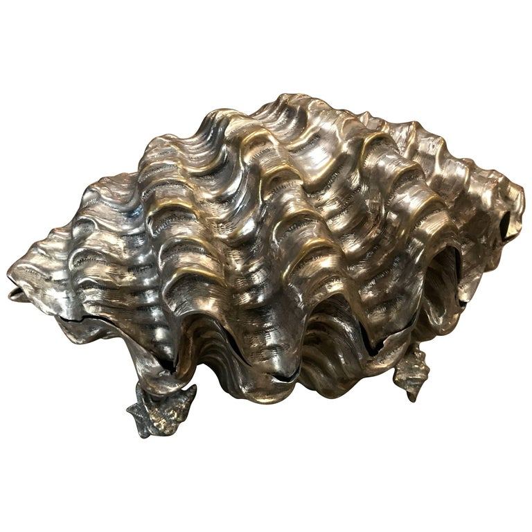 Midcentury Italian Silver Shell, Signed by Franco Lagini For Sale