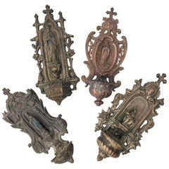 Set of Four French Cast Metal Holy Water Fonts 'Bénitiers' Depicting Mary, 1800s