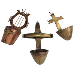 Three Brass and Copper Trench Art Holy Water Fonts/Bénitiers with Crosses, 1900s