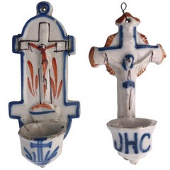 French Antique Faïence Holy Water Fonts 'Bénitiers' with Crucifixes 18th Century