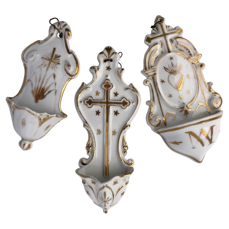 Set of Three French White Porcelain Holy Water Fonts 'Bénitiers' with Crosses