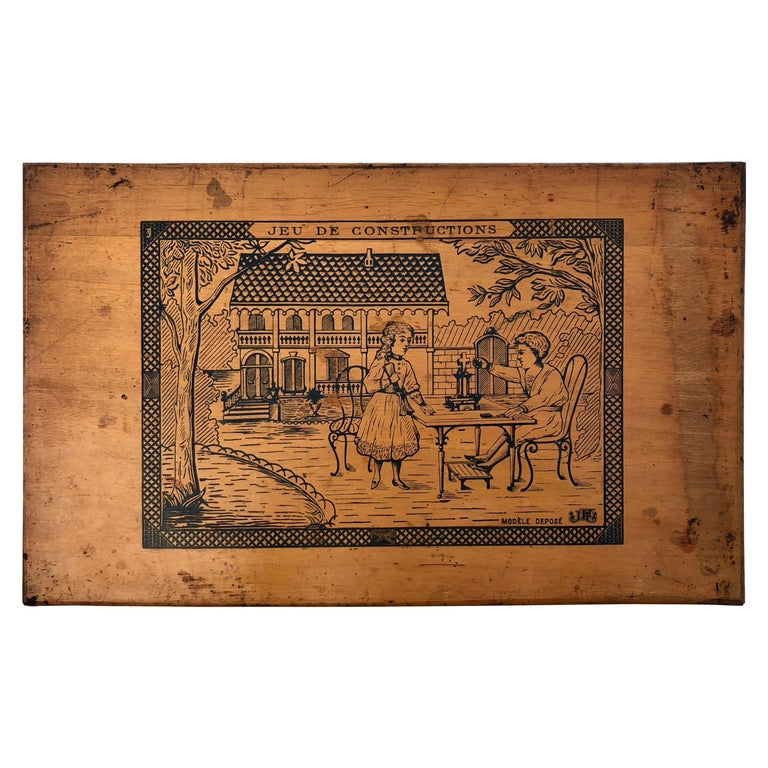 French Early 1900s Wooden Construction Game, Beautiful Architectural Details For Sale