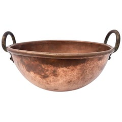"French Antique Copper Preserving Pan ""Cul De Poule"" with Wrought Iron Handles"