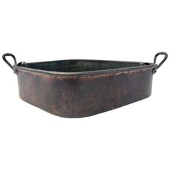 French Copper Turbot Cooker Pan, Wrought Iron Handles with Strainer, 1700s