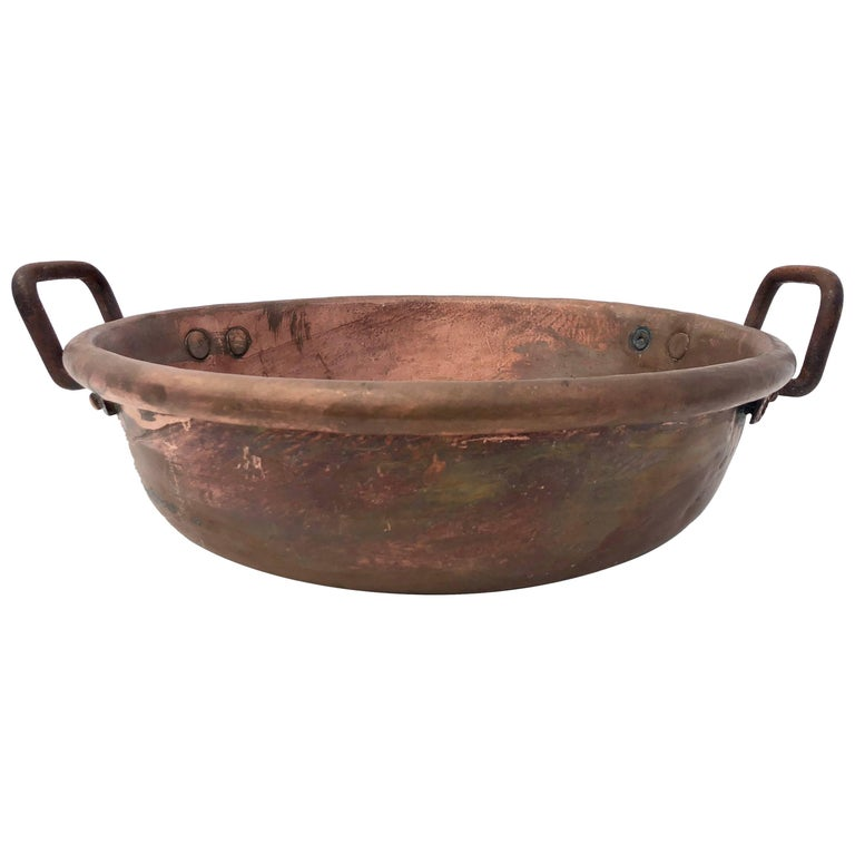 French Copper Preserving Pan/Sugared Almond Pan, Wrought Iron Handles, 1800s