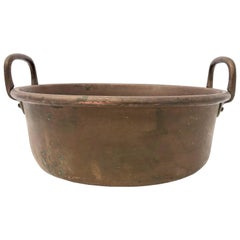 French Antique Copper Preserving Pan with Wrought Iron Handles, 1800s