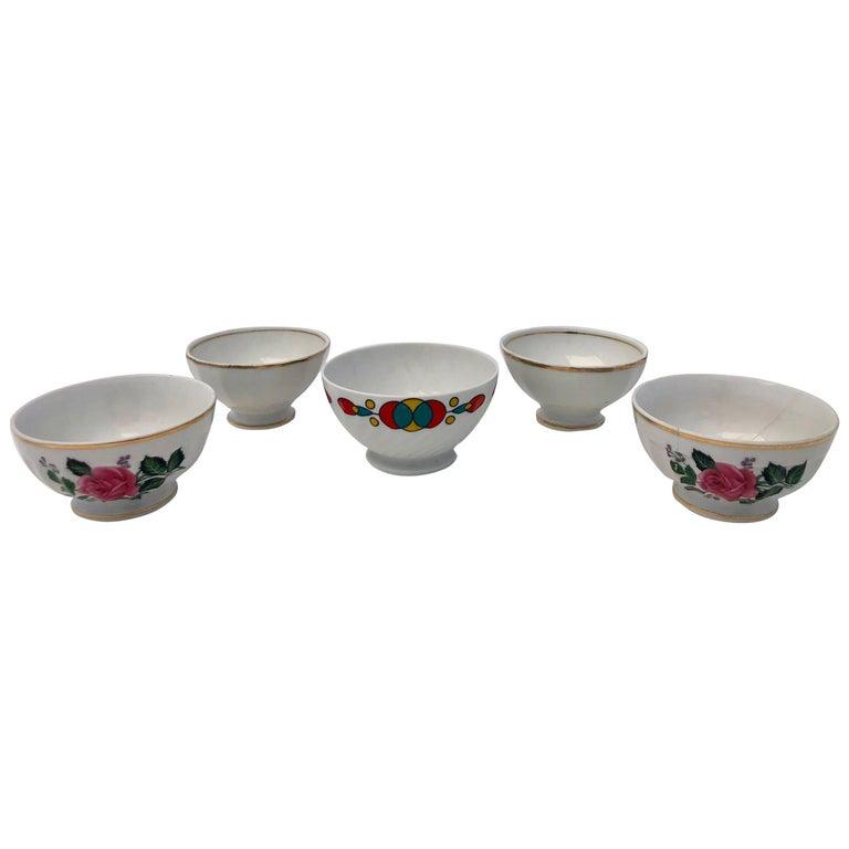 French Antique Tea Bowls or Children's Bowls, 1900s, Set of Five For Sale