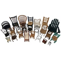 French Vintage Collection of 24 Miniature Chairs in Assorted Materials