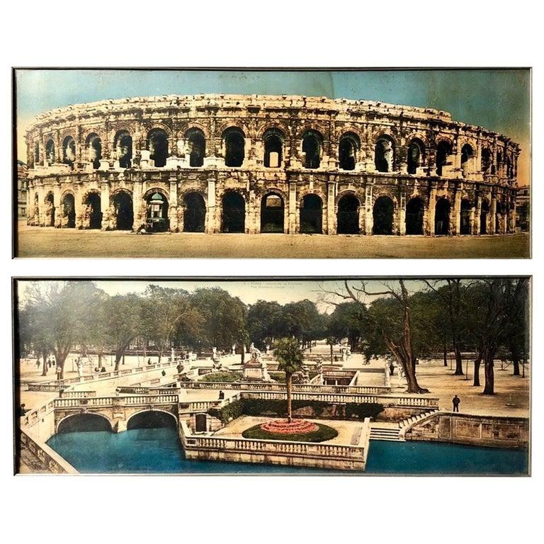Framed French Souvenir Colorized Photos City of Nimes 'Arenas, Fountain Gardens'