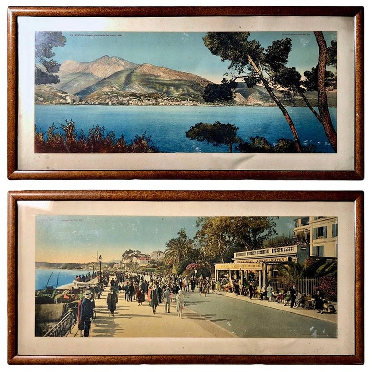 French Framed Color Photos of Menton and Cap Martin, French Riviera, 1950s