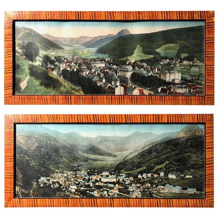 Two French Framed Colorized Photos of Auvergne Mountains and Volcanos