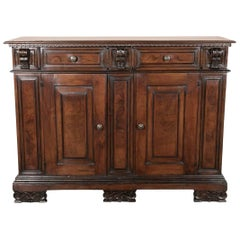 19th Century Italian Walnut Buffet with Bookmatched Front