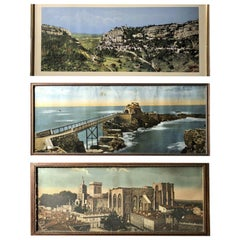 Three French Framed Souvenir Colorized Photos of Rocamadour Biarritz and Avignon