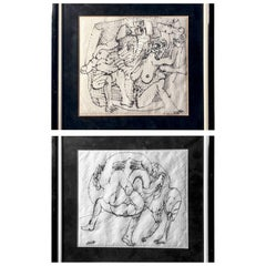 Two Framed Marker on Paper Towel Made Works Made in Paris and Signed, Hugh Weiss
