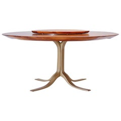 Bespoke Round Table, Reclaimed Hardwood, Brass Base by P. Tendercool in Stock