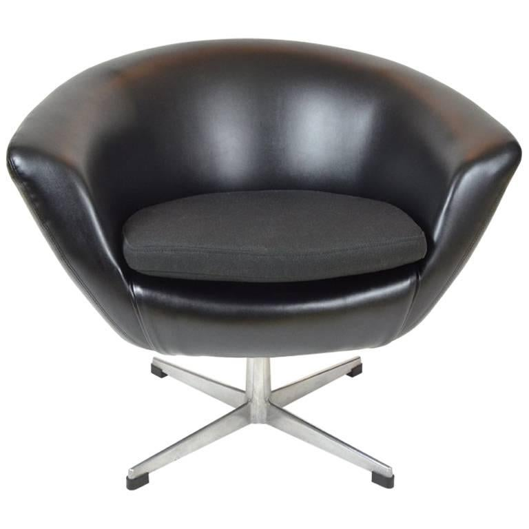Black Leatherette Egg Chair by UP Zavody Rousinov
