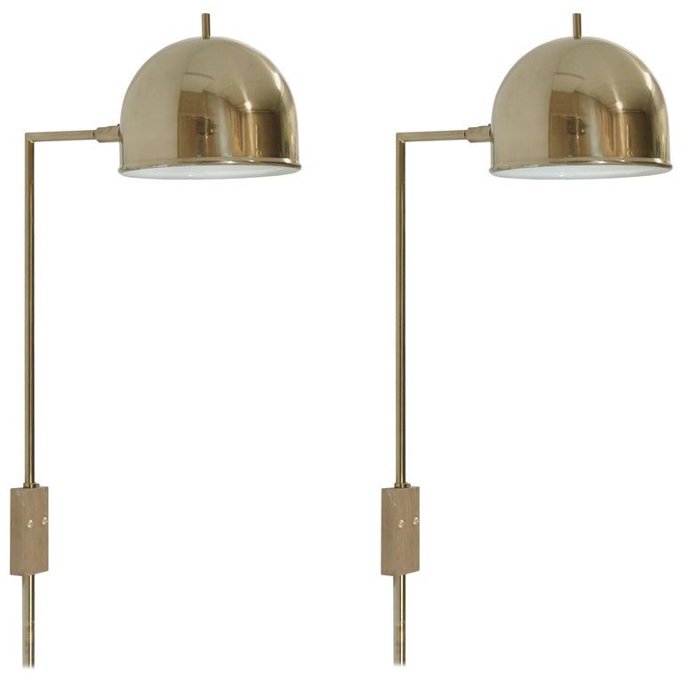 Pair of Midcentury Wall Lights in Brass by Bergboms, Sweden, 1960s