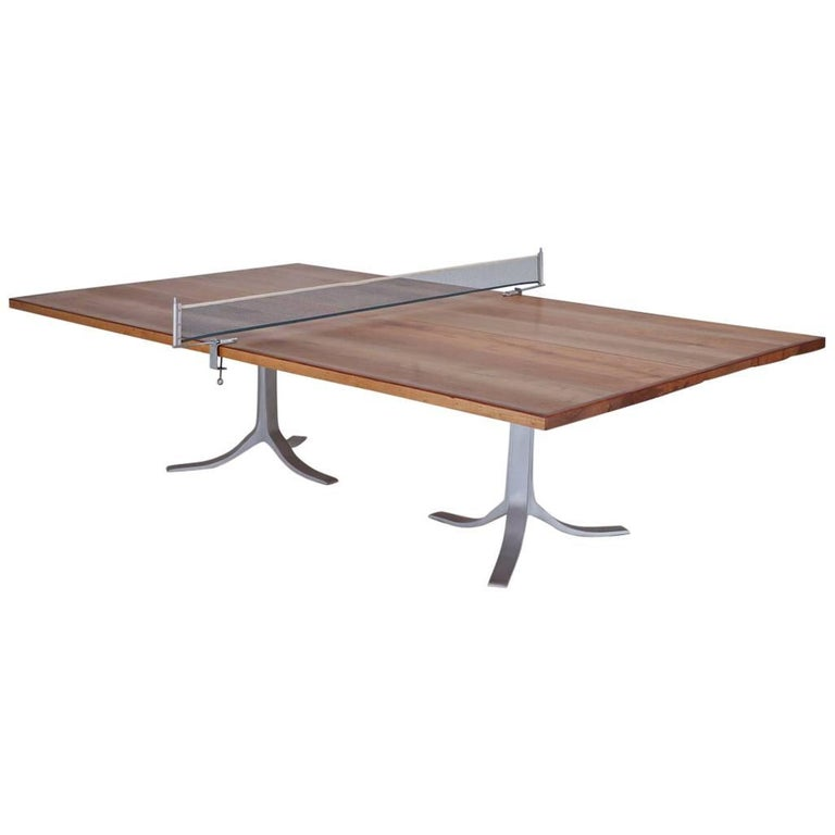 Ping Pong Table, Reclaimed Hardwood, Sand Cast Base by P. Tendercool in Stock