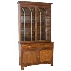 Antique Bookcase, Georgian Mahogany Display Cabinet Gothic Overtones, circa 1800