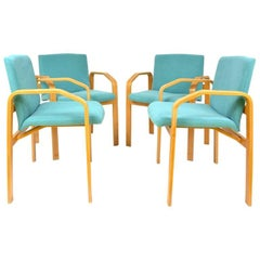 Vintage Turquoise Dining Chairs, Set of Four