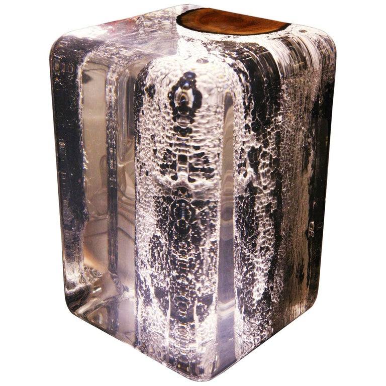 Kisimi Burnt Trunk Side Table with Acrylic Glass and Solid Wood