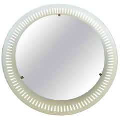 Illuminated Round Yellow White Perforated Mirror Stilnovo Sarfatti Style, 1950s